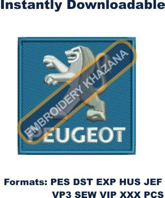 Peugeot CAR logo embroidery design